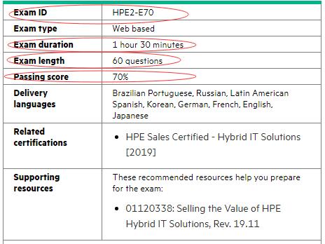 HPE2-E70試験情報